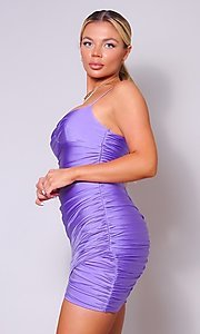Image of short tight ruched homecoming dress. Style: LAS-CEF-21-CD20776 Detail Image 4