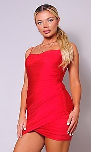 Image of short tight ruched homecoming dress. Style: LAS-CEF-21-CD20776 Detail Image 1