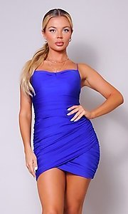 Image of short tight ruched homecoming dress. Style: LAS-CEF-21-CD20776 Detail Image 2