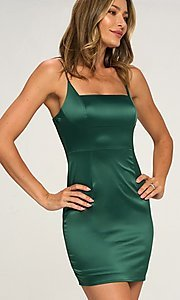 Image of empire-waist short satin cocktail party dress. Style: LAS-LOV-21-QD5129A Front Image