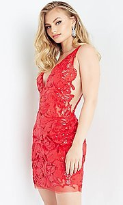 Image of red Jovani short sequin homecoming party dress. Style: JO-21-4552 Front Image