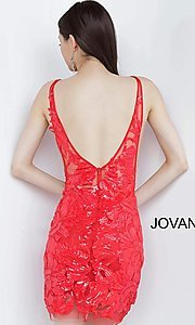 Image of red Jovani short sequin homecoming party dress. Style: JO-21-4552 Back Image