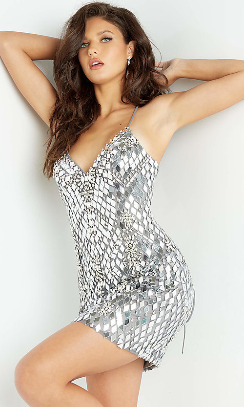 Image of short sexy sequin Jovani homecoming dance dress. Style: JO-21-06675 Front Image