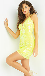 Image of Jovani short sequin bright homecoming dance dress. Style: JO-21-07669 Detail Image 2
