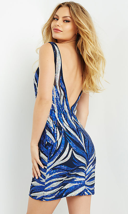 Image of Jovani sequin navy blue & silver homecoming dress. Style: JO-21-08217 Back Image
