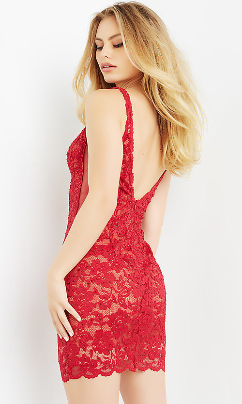 Image of short red beaded-lace homecoming dress by Jovani. Style: JO-21-65576 Back Image