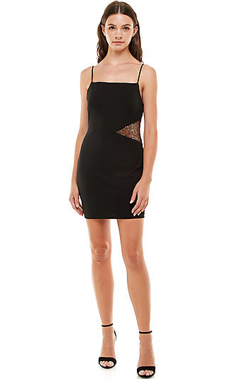 Side Cut-Out Short Black Homecoming Dress