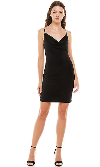 Cowl-Neck Black Cocktail Dress by Jump