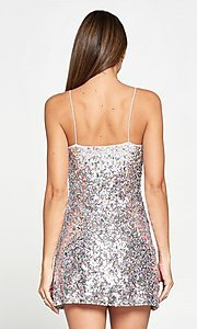 Image of multi-color sequin short homecoming dress. Style: LAS-LOV-21-PD4226 Back Image