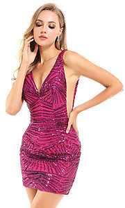 Image of backless short Ava Presley pink sequin hoco dress. Style: AVA-21-25906 Front Image