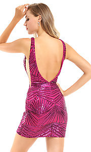Image of backless short Ava Presley pink sequin hoco dress. Style: AVA-21-25906 Back Image