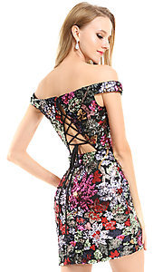 Image of floral sequin Ava Presley short homecoming dress. Style: AVA-21-25912 Back Image