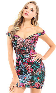 Image of floral sequin Ava Presley short homecoming dress. Style: AVA-21-25912 Front Image