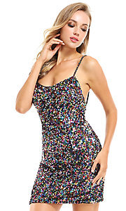 Image of sequin short homecoming dress by Ava Presley. Style: AVA-21-25914 Detail Image 1