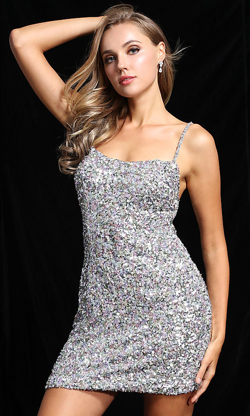 Image of sequin short homecoming dress by Ava Presley. Style: AVA-21-25914 Detail Image 2
