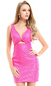 Image of Ava Presley sequin short neon homecoming dress. Style: AVA-21-25917 Front Image