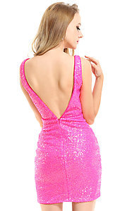 Image of Ava Presley sequin short neon homecoming dress. Style: AVA-21-25917 Back Image