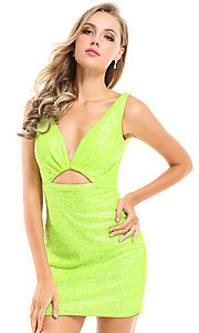 Image of Ava Presley sequin short neon homecoming dress. Style: AVA-21-25917 Detail Image 1