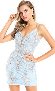 Image of embellished short homecoming dress by Ava Presley. Style: AVA-21-25919 Front Image