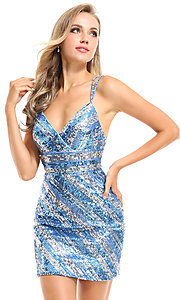 Image of striped sequin short Ava Presley homecoming dress. Style: AVA-21-25921 Detail Image 1