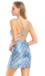 Image of striped sequin short Ava Presley homecoming dress. Style: AVA-21-25921 Back Image