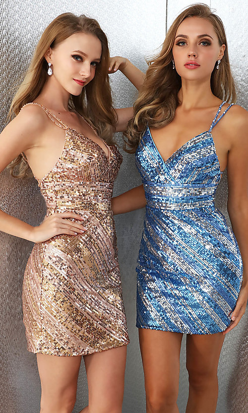 Image of striped sequin short Ava Presley homecoming dress. Style: AVA-21-25921 Front Image