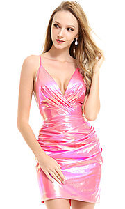 Image of metallic ruched short hoco dress by Ava Presley. Style: AVA-21-25937 Detail Image 1