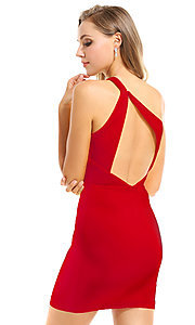 Image of Ava Presley short red homecoming party dress. Style: AVA-21-25952 Back Image