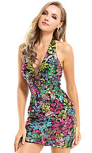 Image of Ava Presley short sequin halter homecoming dress. Style: AVA-21-25913 Detail Image 1