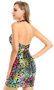 Image of Ava Presley short sequin halter homecoming dress. Style: AVA-21-25913 Back Image