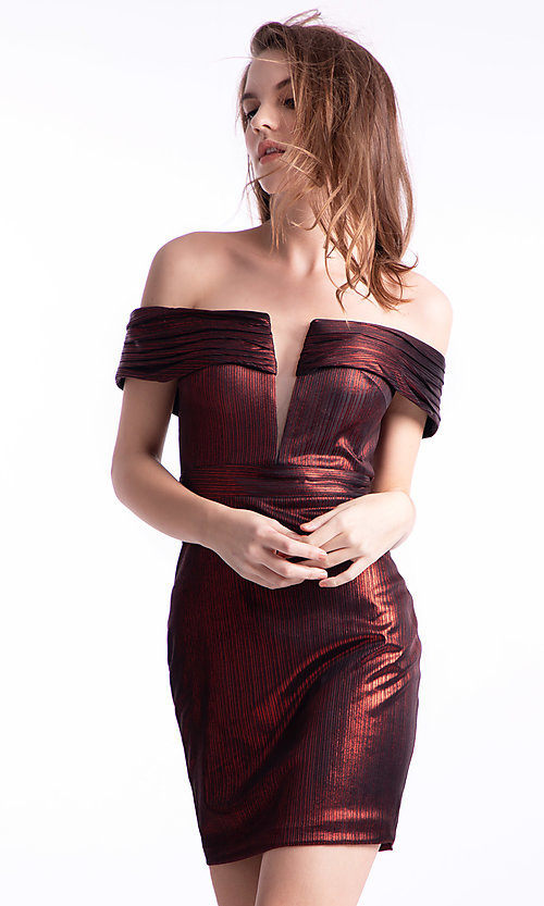 Image of Ava Presley off-shoulder short homecoming dress. Style: AVA-21-24616 Front Image