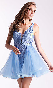 Image of short babydoll homecoming dress by Ava Presley. Style: AVA-21-24638 Detail Image 1