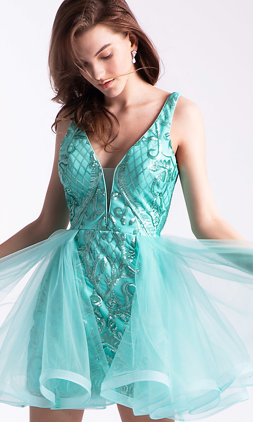 Image of short babydoll homecoming dress by Ava Presley. Style: AVA-21-24638 Detail Image 2