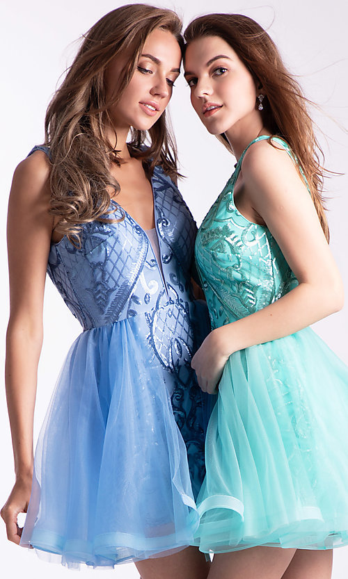 Image of short babydoll homecoming dress by Ava Presley. Style: AVA-21-24638 Front Image