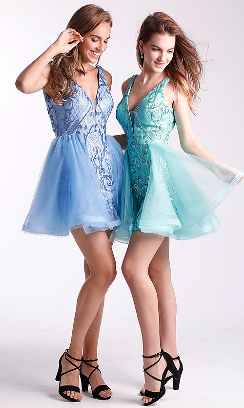 Image of short babydoll homecoming dress by Ava Presley. Style: AVA-21-24638 Detail Image 3