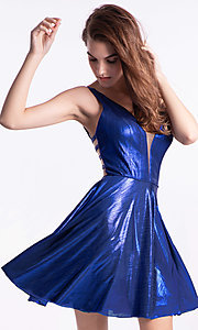 Image of a-line metallic short homecoming Ava Presley dress. Style: AVA-21-24654 Front Image
