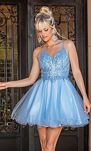 Image of babydoll short prom dress with rolled hemline. Style: DQ-21-3308 Front Image