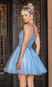 Image of babydoll short prom dress with rolled hemline. Style: DQ-21-3308 Back Image