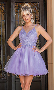 Image of babydoll short prom dress with rolled hemline. Style: DQ-21-3308 Detail Image 1