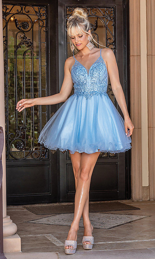 Image of babydoll short prom dress with rolled hemline. Style: DQ-21-3308 Detail Image 2