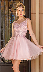 Image of babydoll sleeveless embroidered short prom dress. Style: DQ-21-3304 Front Image