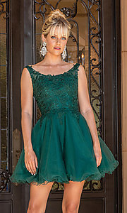 Image of babydoll sleeveless embroidered short prom dress. Style: DQ-21-3304 Detail Image 2