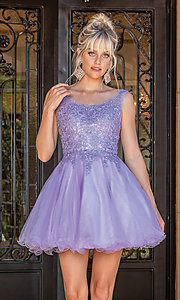 Image of babydoll sleeveless embroidered short prom dress. Style: DQ-21-3304 Detail Image 4