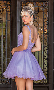 Image of babydoll sleeveless embroidered short prom dress. Style: DQ-21-3304 Detail Image 5