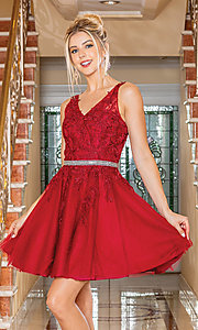 Image of sheer-bodice babydoll short semi-formal dress. Style: DQ-21-3296 Front Image