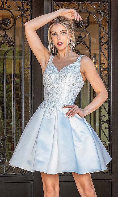 Image of corset-bodice off white short fancy party dress. Style: DQ-21-3293 Front Image