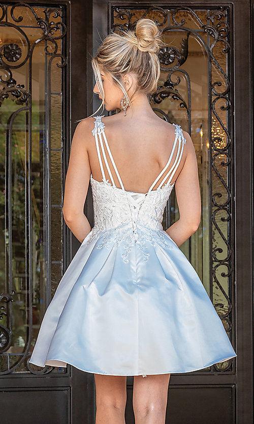 Image of corset-bodice off white short fancy party dress. Style: DQ-21-3293 Back Image