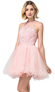 Image of high-neck babydoll fancy short homecoming dress. Style: DQ-21-2156 Detail Image 1