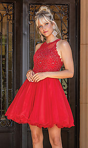 Image of high-neck babydoll fancy short homecoming dress. Style: DQ-21-2156 Front Image