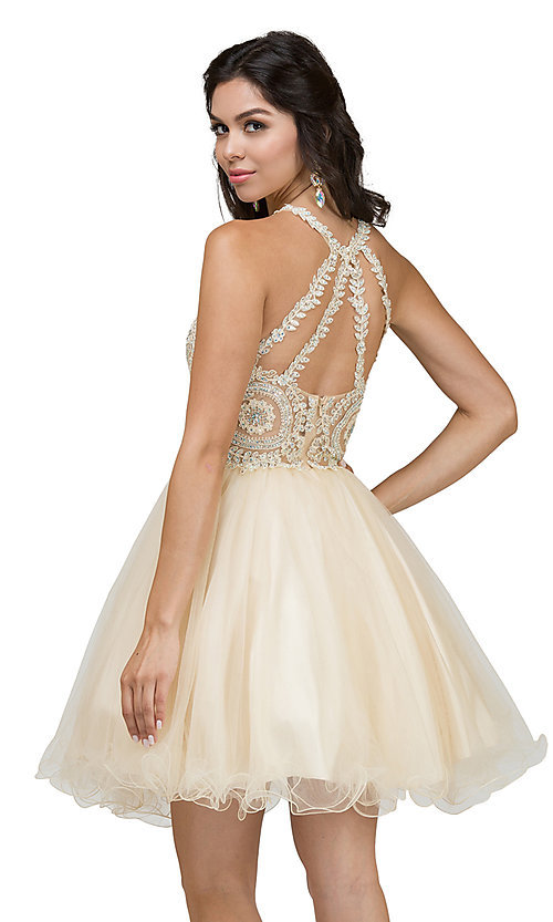 Image of high-neck babydoll fancy short homecoming dress. Style: DQ-21-2156 Back Image